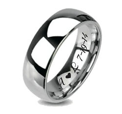 CUSTOM PERSONALIZED WOMEN#x27;S TUNGSTEN SILVER PROMISE RING WEDDING BAND ENGRAVED $27.99