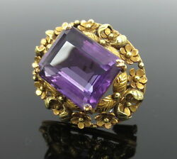 Art Nouveau 15.0ct Amethyst Hand Made 14k Rose And Yellow Gold Floral Pin Brooch