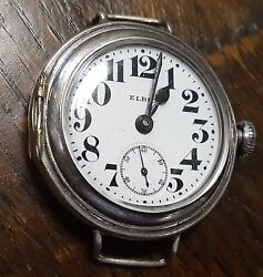 Elbico Antique American Sterling Silver Case From 1916swiss Omikron Mechanism