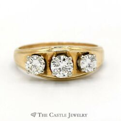 Concaved Design 1cttw Three Diamond Ring with Ridged Edges Crafted