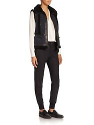 Vince Leather And Shearling-trimmed Suede Moto Vest Two Tone, Small