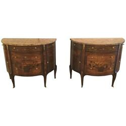 Pair of 19th Century French Louis XV Style Demilune Commode  Bedside Stands