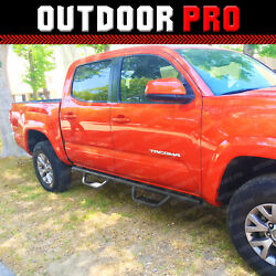 2005-2021 For Toyota Tacoma Double Cab Side Steps Nerf Bars Running Boards Black