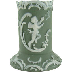 Green Jasperware Toothpick Holder With Angel Chasing Butterfly - 1920's