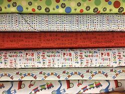 RILEY BLAKE SCOOT COLLECTION 6 DIFFERENT COTTON FABRICS BY THE YARD