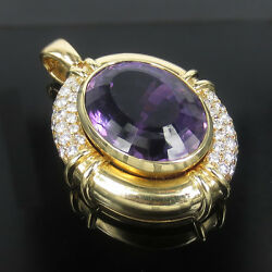 Vintage 2.50ct Diamond And 30.0ct Natural Amethyst 18k Yellow Gold Pendant
