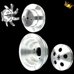 Billet Big Block 4 Pulley Set Fits Bb Chevy 396 427 454 Long Wp With Ac And Ps