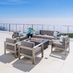 Coral Bay Outdoor 4 Pc Club Chair Set W/ 3 Seat Loveseat And Firepit