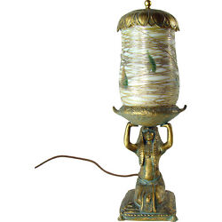 Egyptian Perfume Lamp With Signed Lustre Art Glass Shade - Art Deco