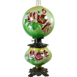 Hand-painted Banquet Lamp With Raised Enamel Painting - 100 Original - 1880's