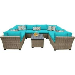 TKC Monterey 9 Piece Outdoor Wicker Sofa Set in Aruba