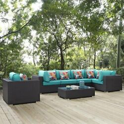 Modway Convene 7 Piece Patio Sectional Set In Espresso And Turquoise