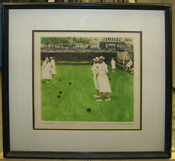 R.s. Riddick Rare '79 Monotype Of Lawn Bowling California Listed Western Artist