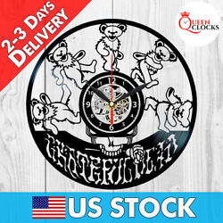 Grateful Dead Logo Bears Vinyl Record Wall Clock Birthday Gifts Art Decor Stuff