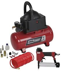 Tool Shop 2 Gallon Air Compressor Combo Kit Portable Nailer Hose and Accessories