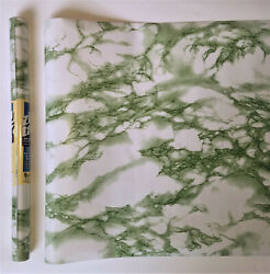 3 Rolls Of 9ft Emerald Green Marble Shelf Liner Adhesive Contact Wall Paper 27ft