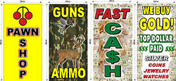 Perforated Window Decal Pawn Shop Cash For Gold Ammo Lot Of 4 2and039 X 4and039 Vertical