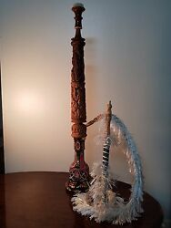 Buzzz Antic Wooden Carved Hookah Extra High-details Tripart Design
