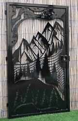 Decorative Steel Gate – Mountain View, Pine Trees, Nature Scene, Entryway Gate