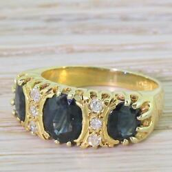 Late 20th Century Sapphire And Diamond Trilogy Ring - 18k Gold - C 1975