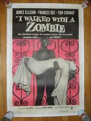 I Walked With A Zombie Original Rr 1956 Half-sheet Poster Horror Linenbacked