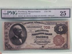 1882 5 Brown Back Pmg Very Fine 25 Fitchburg Massachusetts Only 3 On Census