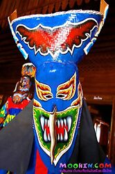 Blue SUPER RARE HUGE  khon folk mask Loei province Carved Thai wood mask eagle