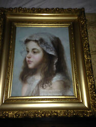 Orig. Hand Painted Victorian Child Girl Oil Canvas Painting Antique Gold Frame