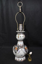 Vintage Baldwin Hand Painted Delft Style Table Lamp, Forged In America, 22