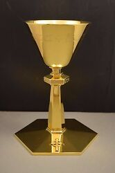 + Older All Sterling Silver Neo-gothic Chalice, By Schwarzmann, Trier Germany +