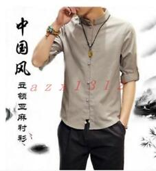 Hot Sale Mens Linen Cotton Summer Casual Shirts Chinese Style Tang Suit Coats