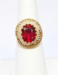 2596-14k Yellow Gold Ruby And Pearl Ring 6.46ct 5.80grams