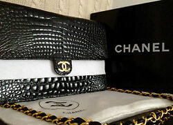 MINT Classic CHANEL Black Crocodile Alligator 24K Gold Chain 10