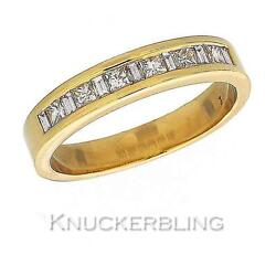 Genuine Diamond Wedding Ring 0.50ct F Vs Princess And Baguette Cut In 18ct Gold