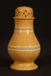 Very Rare 1800s White And Blue Band Pepper Pot Yellow Ware Mint
