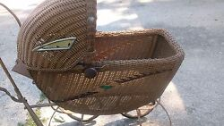 Antique/vintage Wicker Baby Carriage, Buggy, Pram, Convertible, 34.5x 32x 16