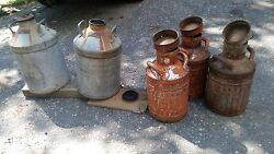 2 Pre-1939 The Texas Co 10 Gal Gas Cans And 3-early 1900 Ellisco Co 5 Gal Gas Cans