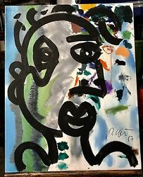 Peter Keil Original Acrylic On Canvas Outsider Unique Art 1987 Signed