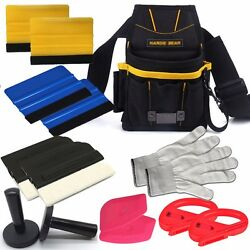 Standard Car Wrap Vinyl Tool Kit Squeegee Bag Razor Wrapping Gloves 4 Magnet
