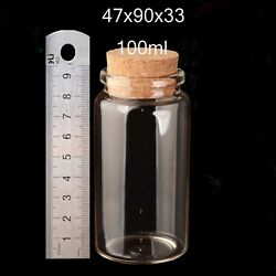 100ml 47mm Clear Glass Bottle With Cork Lid Transparent Small Empty Wish Vials