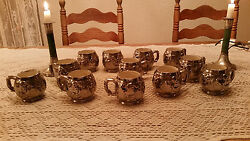 Platinum Glazed Cups For Christmas Wassail Punch Goblets Santa Claus Pottery Cup