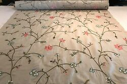 Briar Plumtree Embroidery Floral Embroidered Linen Cotton Fabric