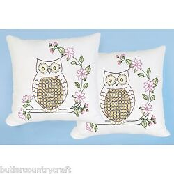 Chicken Scratch Owl 663-588 Stamped Hand Embroidery Pillowtops  Kit - You Stitch