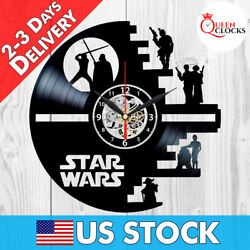 Star Wars Death Star Darth Vader R2 D2 Joda Vinyl Record Wall Clock Gift Decor