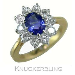 Blue Sapphire And F Vs Diamond Cluster Ring 2.50ct In 18ct Gold Engagement Ring