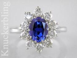 Blue Sapphire And F Vs Diamond Ring 2.50ct 18ct White Gold Engagement Ring