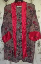 Women's VICTORY SECRET Vintage 90's Sexy Satin Robe Rose Paisley Abstract Design