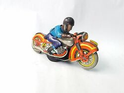 Antique 50's Rare European Wind-up-litho-tin-toy-racing-motorcycle