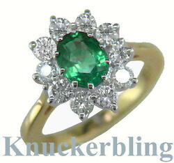 2.50ct Emerald Ring With F Vs Diamonds Engagement Cluster Ring In 18ct Gold