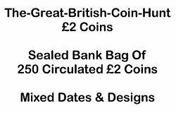 Sealed Bank Bag of 250 x Coins Mixed Dates & Designs Circulated Wholesale Lot